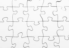 Blank jigsaw puzzle complete solution. White blank jigsaw puzzle complete solution Stock Images