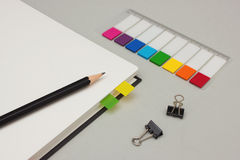 Blank journal with clips and colorful page markers Stock Image
