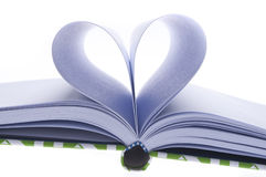 Blank Journal with Pages Folded in a Heart Shape Royalty Free Stock Images