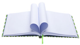 Blank Journal with Pages Folded in a Heart Shape Stock Photo