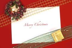 Blank julkortet med stearinljuset Arkivbilder