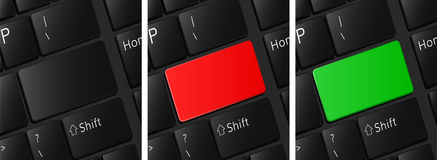 Blank keyboard buttons set red button green Stock Image