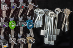 Blank  keys  on a special wall in a workshop Stock Images