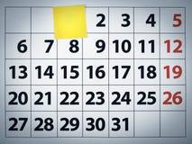 blank klibbig kalenderanmärkning Royaltyfri Bild