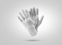 Blank knitted winter gloves mockup. Clear ski or snowboard mittens. Mock up, isolated. Warm hand clothes design template. Plain arm accessory presentation for royalty free stock image