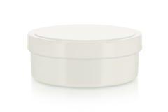 Blank kräm- ask på white Arkivbilder
