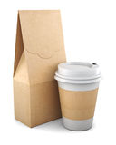Blank Kraft bag and plastic Cup on white background. 3d renderin. G Stock Image