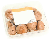 Blank Label Container Mushrooms Royalty Free Stock Images