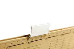Blank label on file folder. File folder with blank label, closeup, focus on label, isolated Royalty Free Stock Photography
