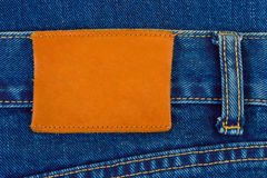 Blank label on jeans Stock Images