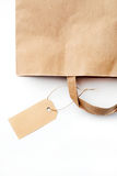 Blank label. Paper shopping bag with blank label Stock Images