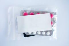 Blank label prescription sachet Stock Photos