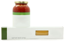 Blank Label spaghetti Sauce and Noodles Royalty Free Stock Images