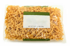 Blank Label Wide Egg Noodle Package. Over white background royalty free stock photos