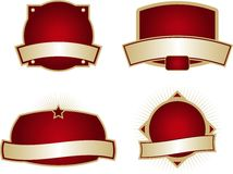 Blank Labels. Collection of four blank labels with dark red backgrounds Royalty Free Stock Image