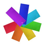 Blank labels. Group of multicolor blank carton labels on white background Stock Images