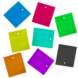 Blank labels. Set of blank multicolor carton labels isolated over white Stock Photo