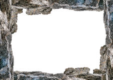 Blank Landscape Frame With Rock Borders. White frame background with decorated rock borders Royalty Free Stock Image
