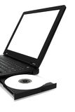 Blank Laptop (Complete Screen). A Laptop with a blank CD in the tray and blank screen Royalty Free Stock Photography