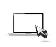 Blank laptop and cursor illustration design. Over a white background Stock Photo