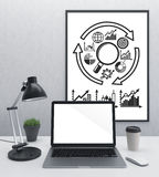Blank laptop and frame scheme Royalty Free Stock Photo