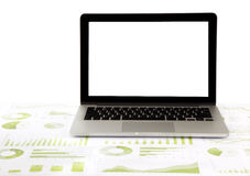 Blank laptop on graphs and charts Royalty Free Stock Photo