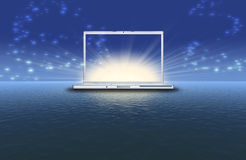 Blank laptop on the sunset Royalty Free Stock Photos