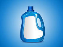 Blank laundry detergent package. Blue container bottle with label in 3d illustration isolated on blue background Stock Photos