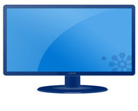 Blank LCD Screen Monitor. Blank blue LCD screen monitor isolated with white background Royalty Free Stock Photography