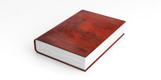 Blank leather book template on white background. 3d illustration Royalty Free Stock Images