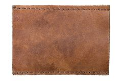 Blank leather jeans clothing label tag Isolated. Blank leather label for your own text Royalty Free Stock Photos