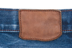 Blank leather jeans label Royalty Free Stock Images