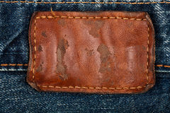 Blank leather jeans label Stock Image