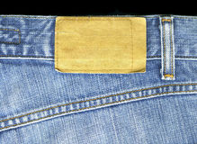 Blank leather jeans label sewed Stock Images