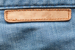 Blank leather jeans label Stock Photos