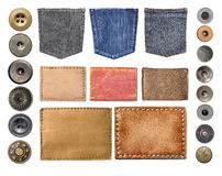 Blank leather jeans labels Stock Images