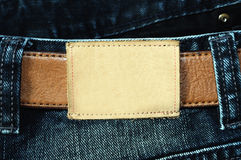Blank leather label of jean royalty free stock photos