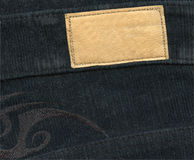 Blank leather label on jeans Royalty Free Stock Image