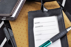 Blank leather luggage tag Royalty Free Stock Images