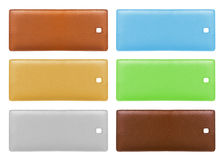 Blank leather price tags isolated. Over white background. Different colors Royalty Free Stock Photos