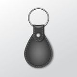 Blank Leather Round Keychain with Ring for Key Royalty Free Stock Image