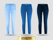 Blank leggings mockup set, blue and denim on transparent background.  Royalty Free Stock Photo