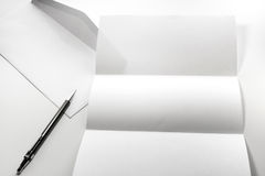 blank of letter paper and white envelope with pen Royalty Free Stock Photography