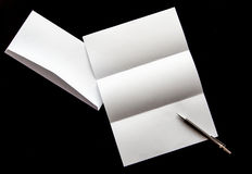 blank of letter paper and white envelope with pen Stock Photos