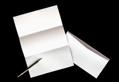 blank of letter paper and white envelope with pen Stock Images