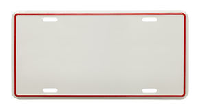 Blank License Plate. Metal License Plate With Copy Space Isolated on White Background Royalty Free Stock Photos