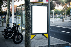 Blank lightbox on the bus stop in a city Royalty Free Stock Image