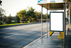 Blank lightbox on the bus stop. Horizontal Royalty Free Stock Photos