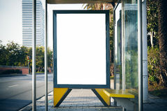 Blank lightbox on the bus stop. Horizontal mockup Stock Photography