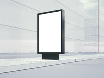 Blank lightbox on the empty street. Glass facades Stock Images